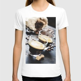 Cups of Espresso on dark rustic background T-shirt