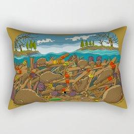"""Canadian Beavers Loving Cuban Cigars! Building a """"Dam-a-dor"""" Rectangular Pillow"""