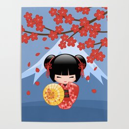 Japanese Red Sakura Kokeshi Doll on Blue Poster