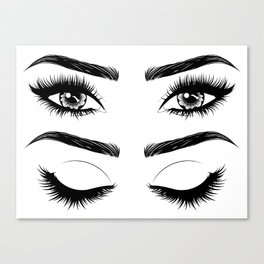 Eyes with long eyelashes and brows Canvas Print