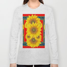 RED-TEAL DECO YELLOW SUNFLOWERS ART Long Sleeve T-shirt