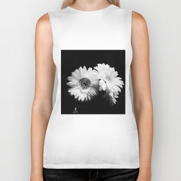 Flowers in Black and White - Nature Vintage Photography Biker Tank