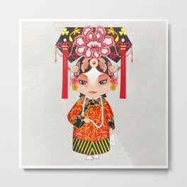 Beijing Opera Character TieJing Princess Metal Print