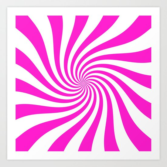 Swirl (Hot Magenta/White) Art Print