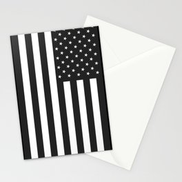 American Flag Stars and Stripes Black White Stationery Cards