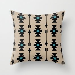 Southwestern Arrow Pattern 253 Black Turquoise and Beige Throw Pillow