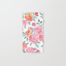 Amelia Floral in Pink and Peach Watercolor Hand & Bath Towel