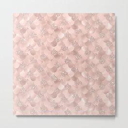 Glam Rose Gold Pink Mermaid Scallops Patterned Metal Print