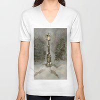 narnia V-neck T-shirts featuring Lamp Post in Blue by Jen Hallbrown