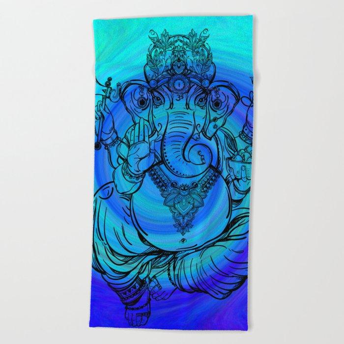 Lord Ganesha on Blue Spiral Beach Towel