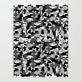 black and white Background Pattern Camo Poster