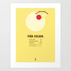 Pina Colada Cocktail Recipe Poster (Imperial) Art Print