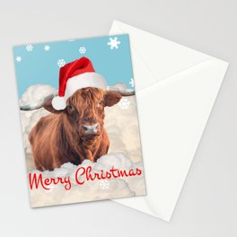 Highland Cow Santa Claus Merry Christmas snow Clouds Stationery Cards