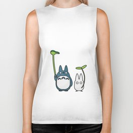 Chu & Chibi Totoro Pop Art - Beige Version Biker Tank