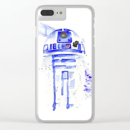 R2-D2 R2D2 droid watercolor Wars Scifi Star FAnart Clear iPhone Case