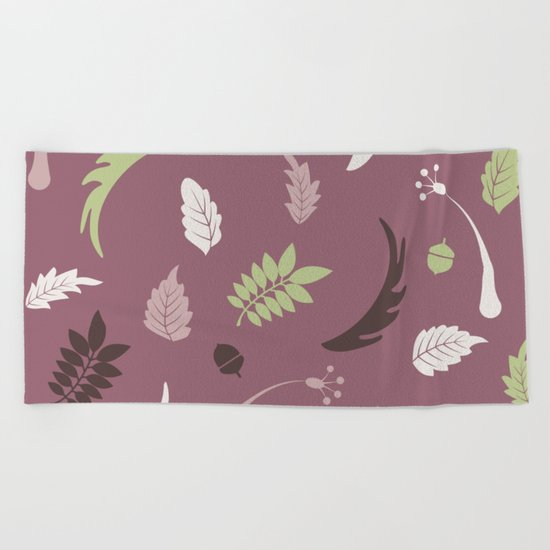 COLORED LEAVES P  (abstract pattern) Beach Towel