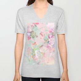 Vintage botanical blush pink mint green floral pattern Unisex V-Neck