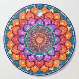 Lotus Rainbow Mandala Cutting Board