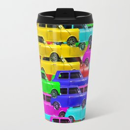 vintage car toy pattern background in yellow blue pink green orange Travel Mug