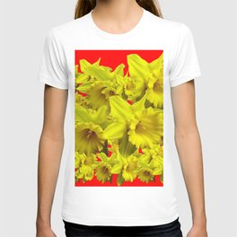 YELLOW SPRING DAFFODILS ON CHINESE RED ART T-shirt