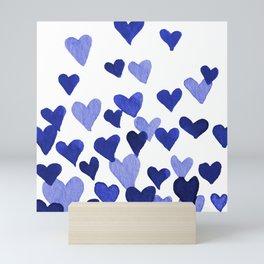 Valentine's Day Watercolor Hearts - blue Mini Art Print