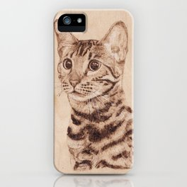 Bengal Cat Portrait - Drawing by Burning on Wood - Pyrography art iPhone Case