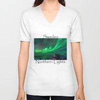 northern lights V-neck T-shirts featuring Northern Lights Mt Nouljia Sweden by David Williams