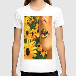 Lips in sunflowers T-shirt