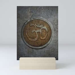 The sound of the Universe. Gold Ohm Sign On Stone Mini Art Print