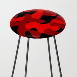 Black and Red Camo abstract Counter Stool