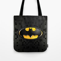 bat man Tote Bags featuring BAT MAN by BeautyArtGalery