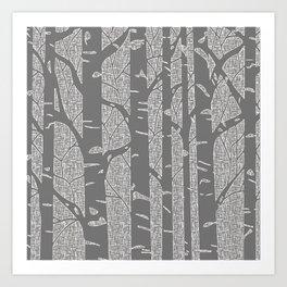 Birches (Grey) Art Print
