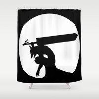berserk Shower Curtains featuring Gatsu berserk armor by Ednathum