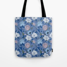 Lovely Seamless Floral Pattern With Subtle Poodles (Hand Drawn) Tote Bag