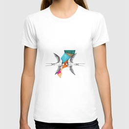 Swallows, geometric drawing T-shirt