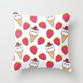 Cute funny sweet adorable little baby kitten ice cream cones with sprinkles and red ripe summer strawberries cartoon white pattern design Throw Pillow