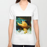 starfish V-neck T-shirts featuring Starfish  by GardenGnomePhotography