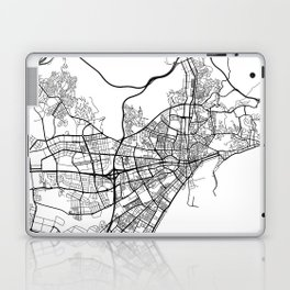 Malaga Map, Spain - Black and White Laptop & iPad Skin