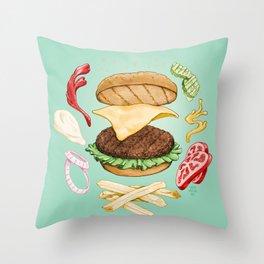 Burger Mandala Throw Pillow