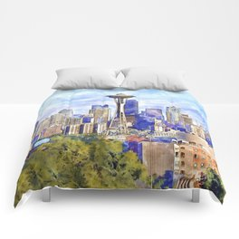 Seattle View in watercolor Comforters