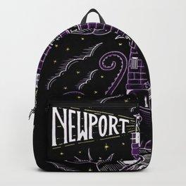 1959 Newport Folk Festival Advertisement Lighthouse Poster, Newport, Rhode Island Purple Motif Backpack