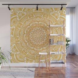 Golden Mustard Yellow Orange Ethnic Mandala Detailed Wall Mural