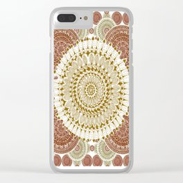 Crimson and Brown Mandala Pattern Clear iPhone Case