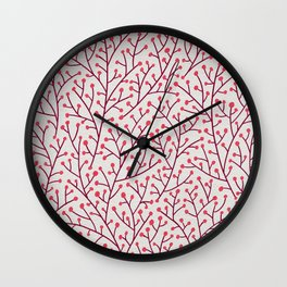 Pink Berry Branches Wall Clock