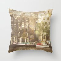 amsterdam Throw Pillows featuring Amsterdam by Cassia Beck