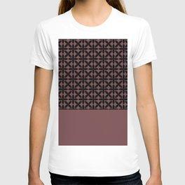 Black Square Petal Pattern on Pantone Red Pear T-shirt