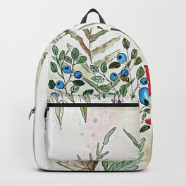 Watercolor. Forest. Amanita. Backpack