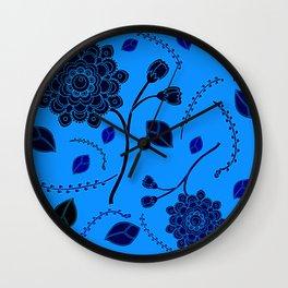 Flying Flowers in orange Wall Clock