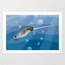 Gnarly Narwhal Art Print