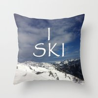 ski Throw Pillows featuring I SKI by BACK to THE ROOTS